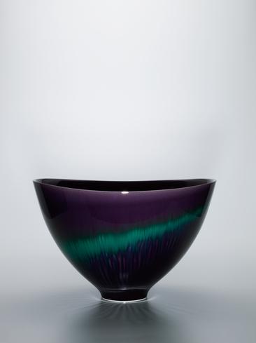 """写真:Deep bowl with colored glaze decoration. """"Aurora"""""""