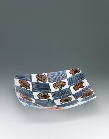 鉄絵銅彩柘榴文鉢