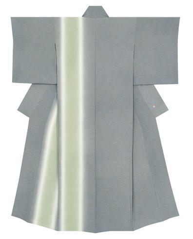 写真:江戸小紋着物「極鮫に千鳥格子縦ぼかし」