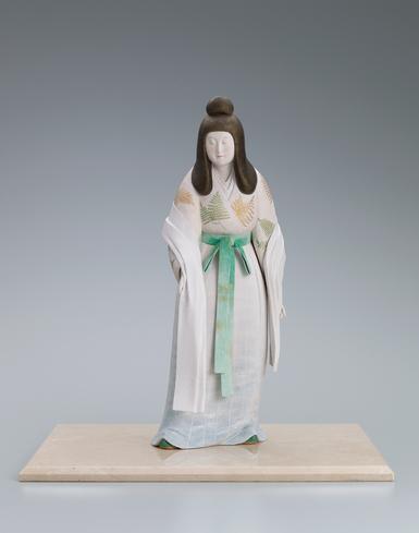 """写真:""""Mimosuso river (which runs through the precinct of the Ise shrine)"""". Ceramic sculpture with polychromy."""