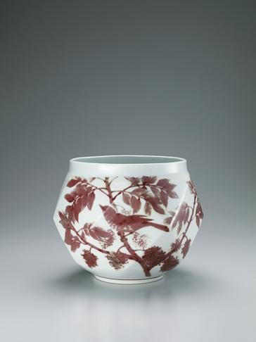 釉裏紅鵯葡萄はぜ文壺