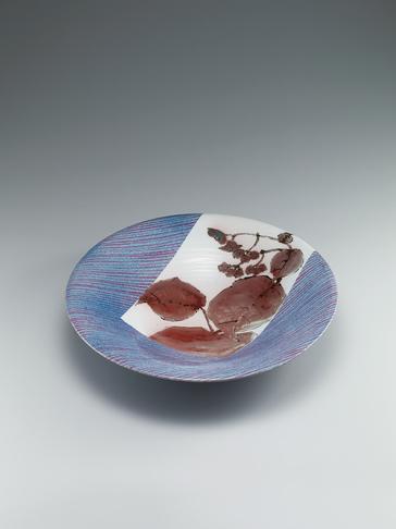 写真:鉄絵銅彩秋海棠文大鉢