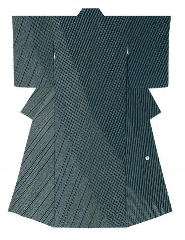 """写真:Formal kimono with design in yūzen dyeing. """"Long rain"""""""