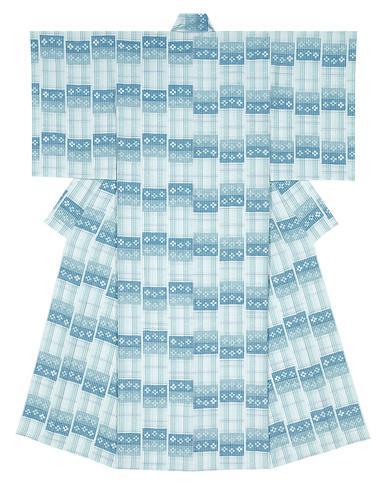 写真:紬織絣着物「水温む」