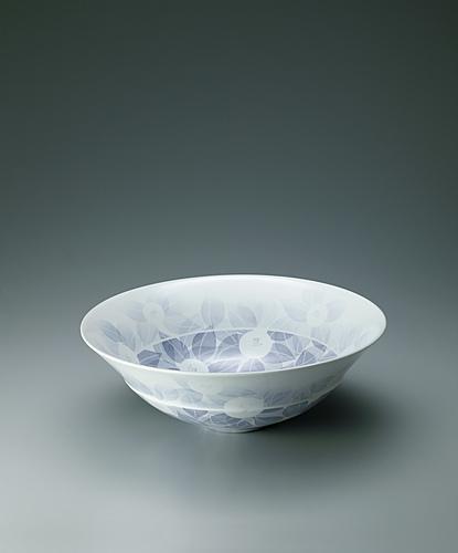 写真:和紙染艶消椿文鉢