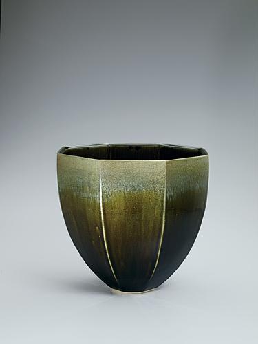 写真:古代釉掛分面取深鉢
