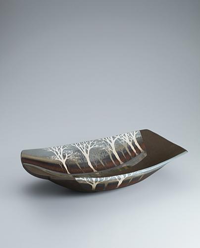 写真:象嵌釉彩樹林文鉢