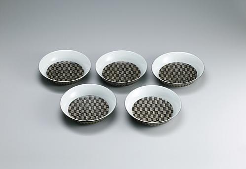 幾何紋銀彩組鉢