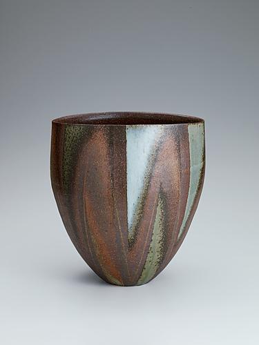 灰釉彩広口壺