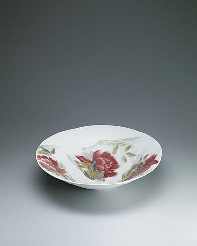 写真:釉彩掛分牡丹文大鉢