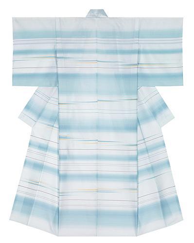 """写真:Kimono of suzushi with lozenge pattern in horaro weave. """"Wearing the wind"""""""