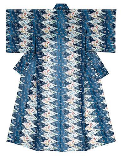 琉球紅入藍型着物「むるぶし浜」