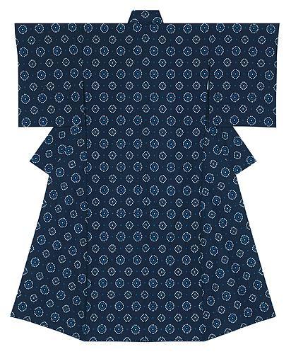 写真:久留米絣経緯絣織着物「花火文・紺青に花」