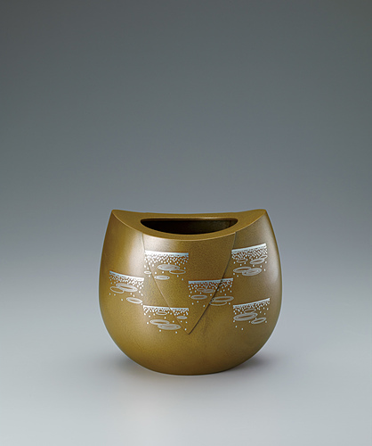 """image Flower vessel with design in inlay. """"Raindrops"""""""