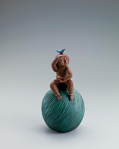 写真:彩色陶俑「望」