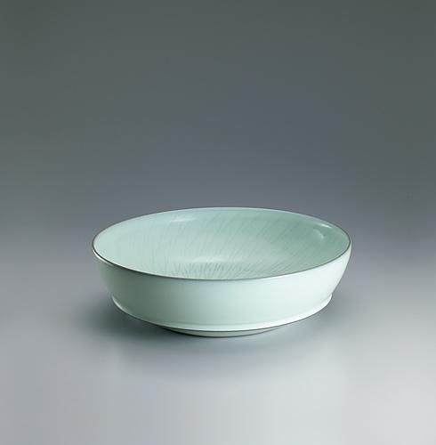 中野月白瓷鉋文鉢