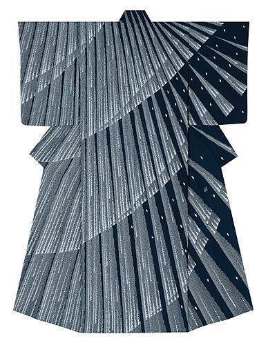 """写真:Formal kimono of thin cloth with design in yūzen dyeing. """"Splashing sound of waterfall"""""""