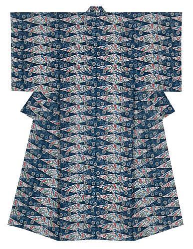 琉球紅入藍型着物「願い星」