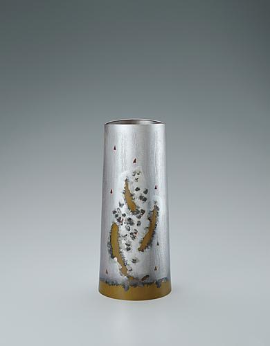 銀黄銅攪拌文花器「錚想」