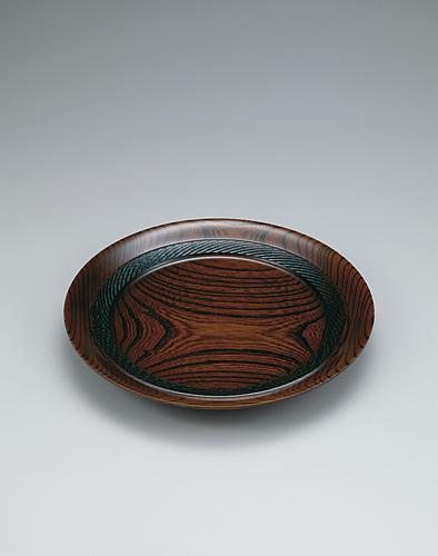 欅拭漆縄文文様盛皿