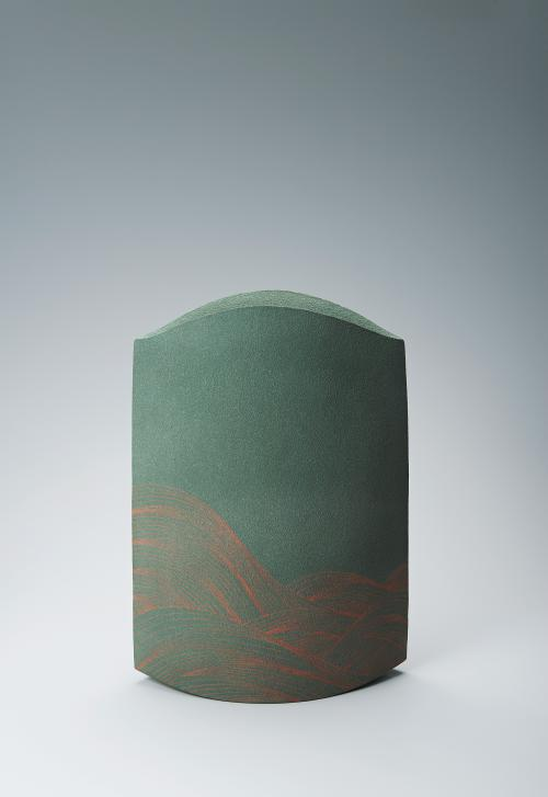 写真:彩色化粧波線刻文花器