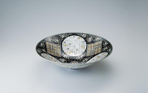 黒地白銀釉裏金銀彩鉢
