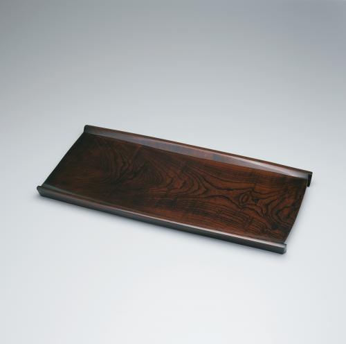 欅緋拭漆舟形盛器