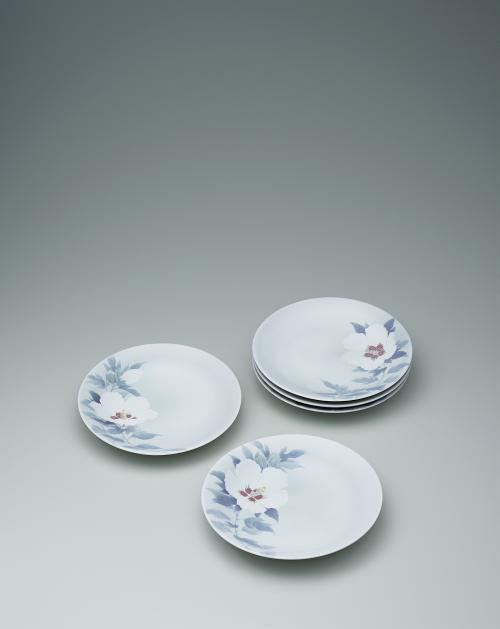 写真:彩磁木槿文組皿