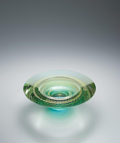 写真:截金硝子花器「水鏡」