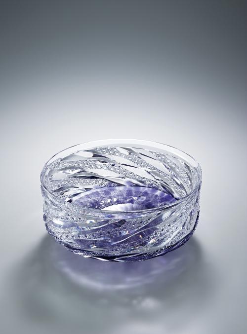 写真:硝子切子鉢「群青」