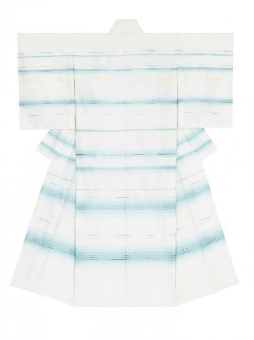 写真:ほら絽織菱絽生絹着物「湖水を渡る」