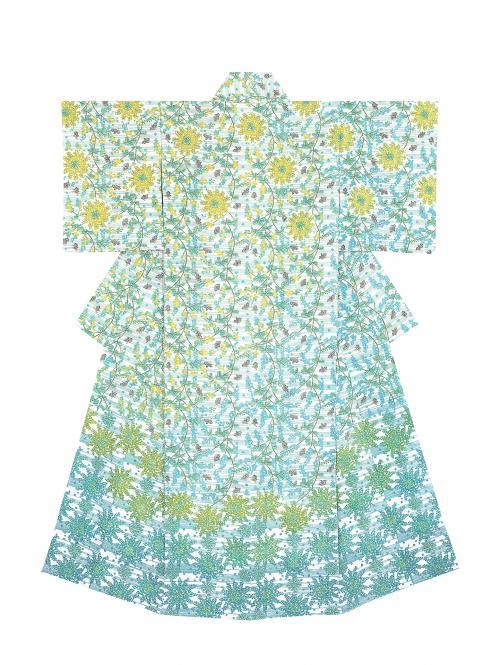 写真:型絵染着物「春のはじまり」