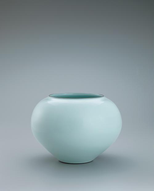 中野月白瓷壺