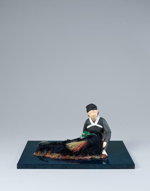 木芯桐塑布紙貼「十五夜の獅子加那志」