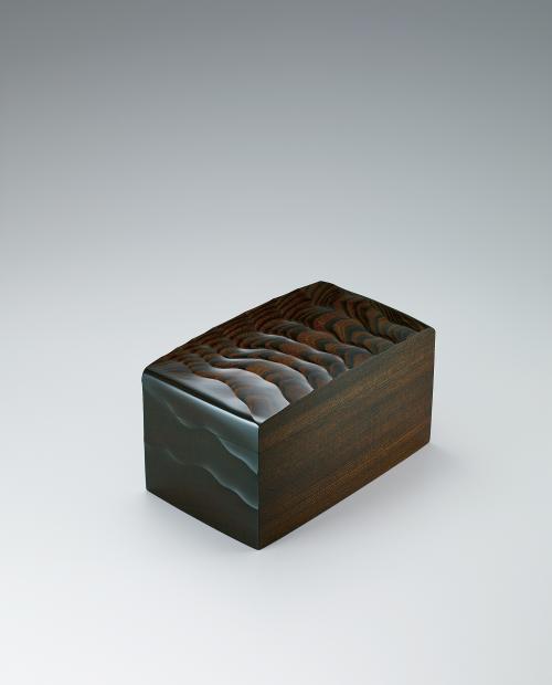 欅拭漆風紋箱