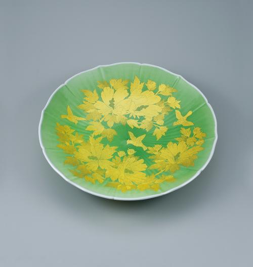 釉裏金彩木槿文飾皿