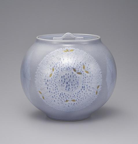 紫苑釉裏銀彩球花文水指