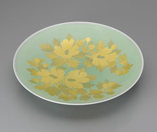 釉裏金彩木槿文皿
