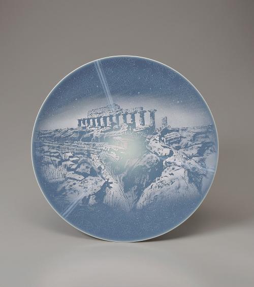 青磁釉彩絵皿(壁掛)生命の星シリーズ