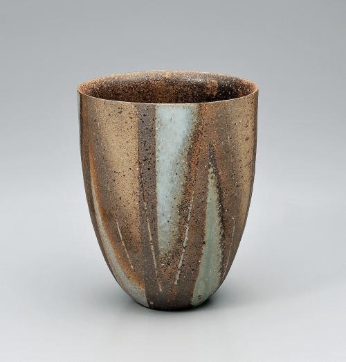 灰釉彩花器