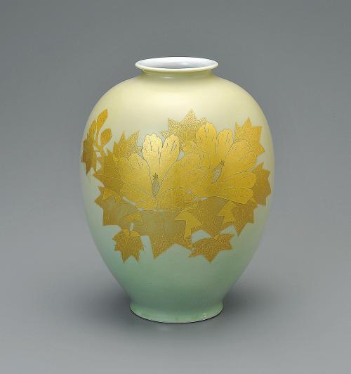 釉裏金彩芙蓉文花瓶