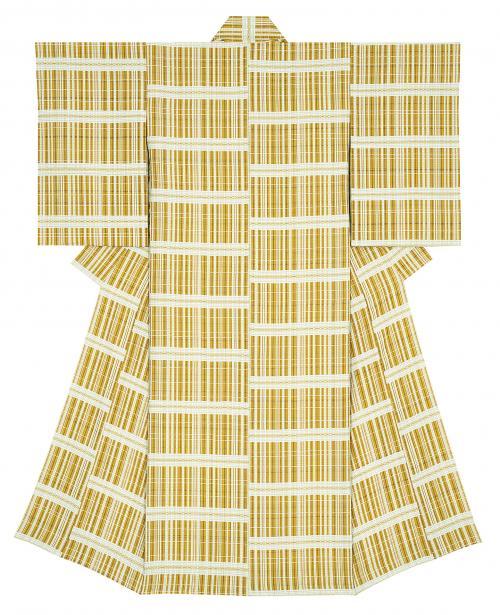 風通織木綿着物「黄に染まる」