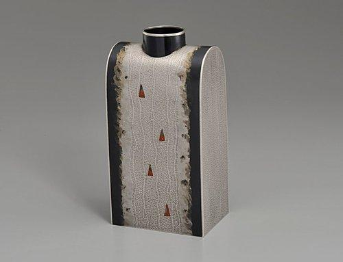 銀赤銅撹拌文花器「あけぼの」