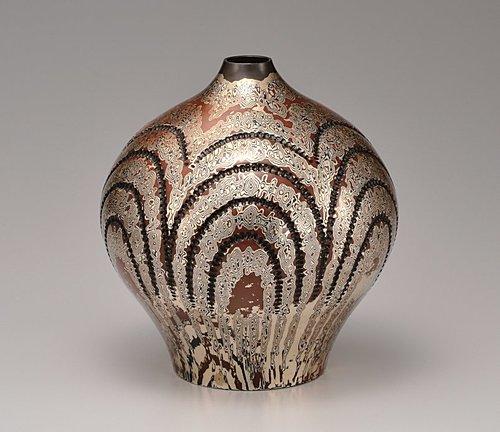 木目金花瓶