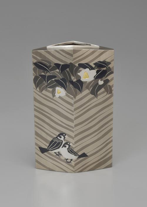 切嵌象嵌接合せ花瓶「椿」