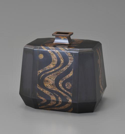 金銀銅杢目金切嵌花器「流水」