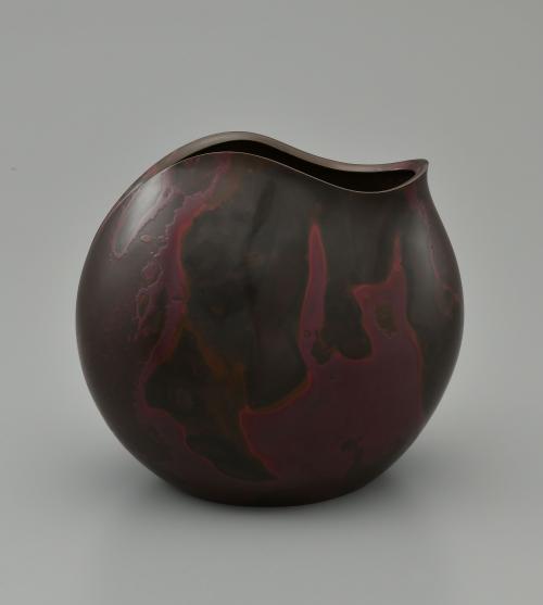 鋳紫銅花器「トキを待つ」