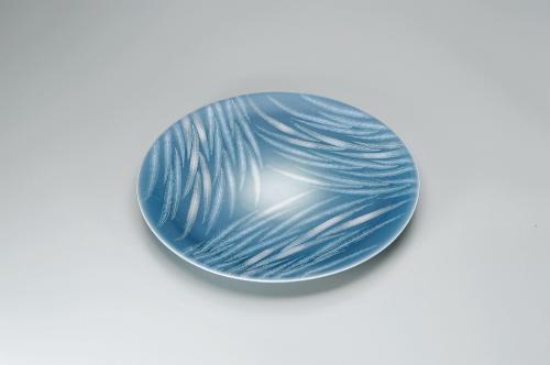 青磁釉彩葉紋皿(壁飾)