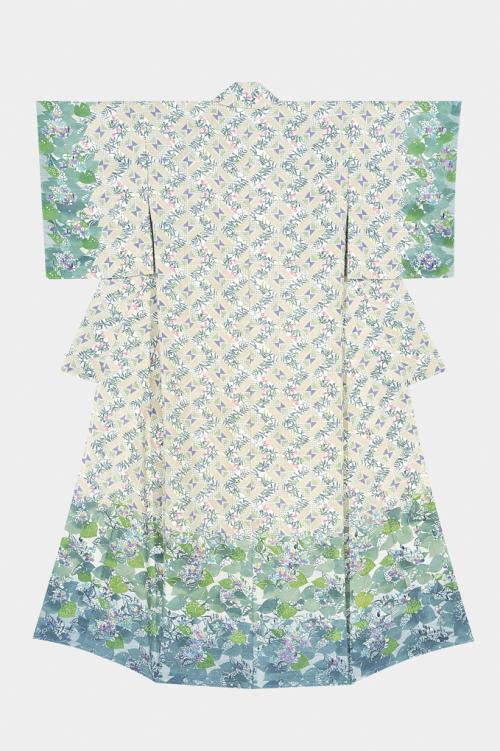 型絵染着物「裏庭の春」