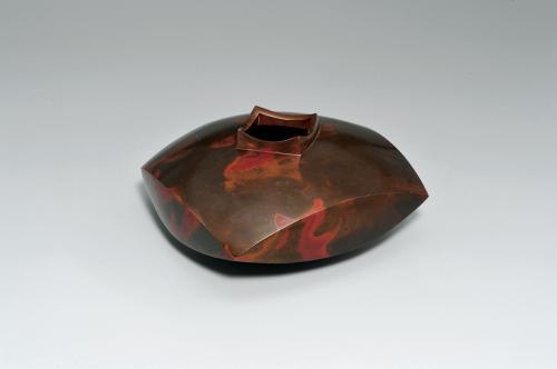 鋳紫銅四方花器